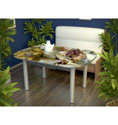 Стол обеденный хром с ящиком