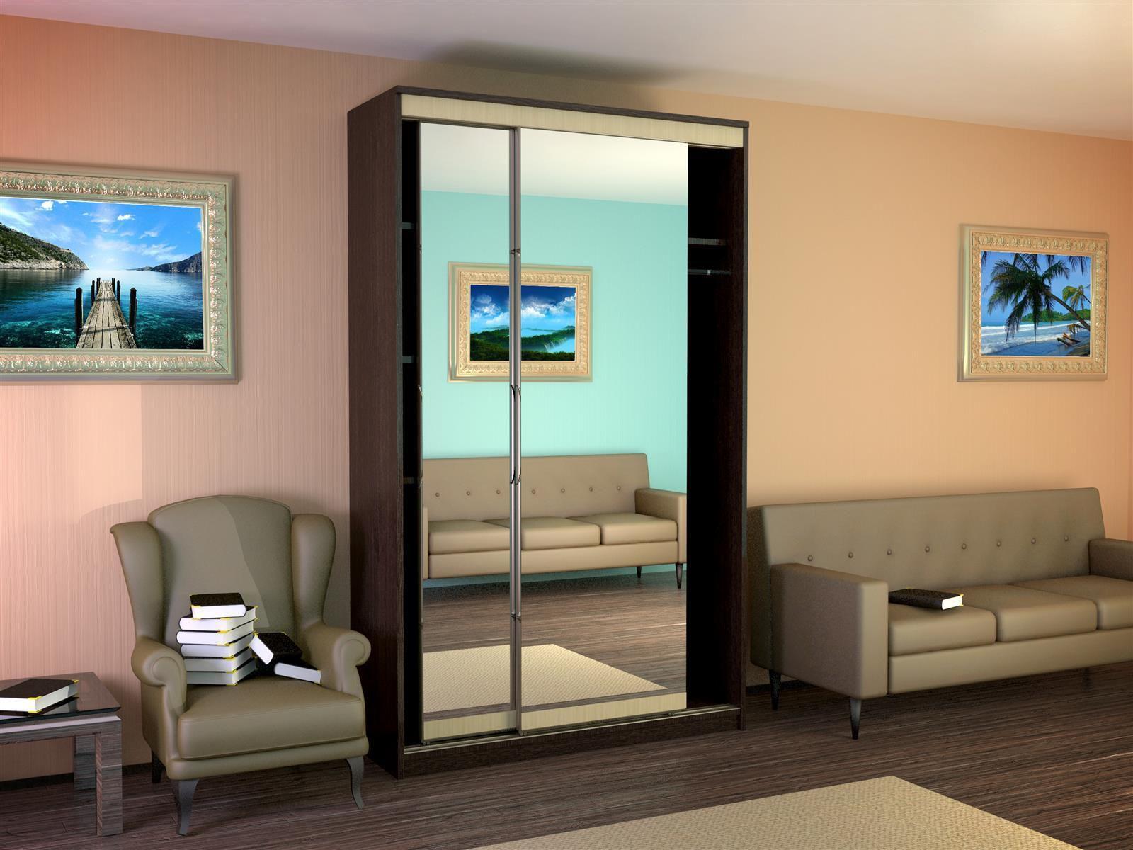 Шкаф-купе 2-х дверный с 2-я зеркалами (рамир).